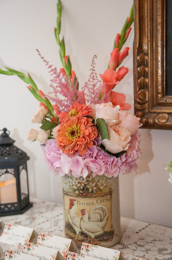 South Jersey Wedding Florist - A Garden Party florist - Art + Life Photography - Moorestown Community House - pink wedding flowers - peach wedding flowers - brunia - roses - astilbe - birch canopy - lace wedding