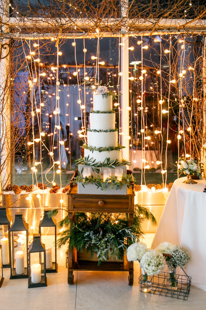Philadelphia Wedding Florist - A Garden Party florist - Cira Centre - Emily Wren Photography - winter wedding - white wedding flowers - string lights - vintage wedding - wood accents - chalkboard art