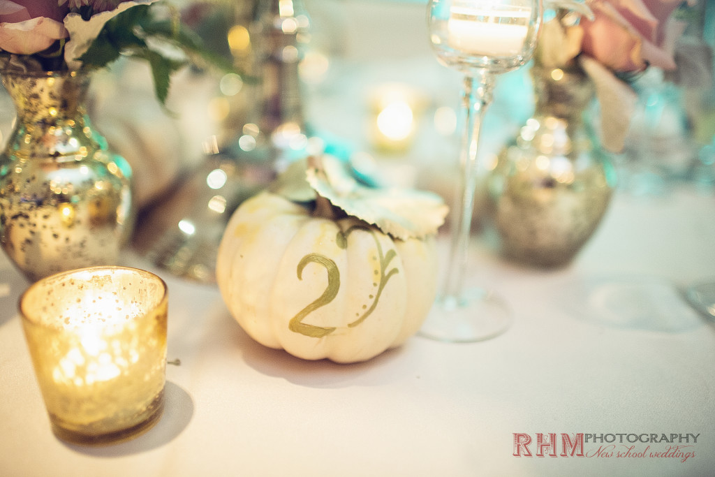 Cape May Wedding Florist - A Garden Party florist - RHM Photography - Congress Hall - fall wedding - white pumpkins - gold accents - white wedding flowers - blush wedding flowers - roses - vintage wedding - candelabra - succulent