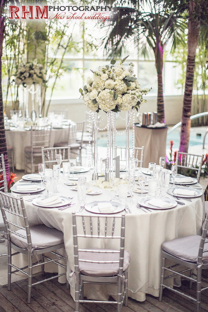 Atlantic City Wedding Florist - A Garden Party florist - Borgata Water Club - RHM Photography - white wedding flowers - pink wedding flowers - tropical theme wedding - summer wedding - lucite stand - hanging crystals