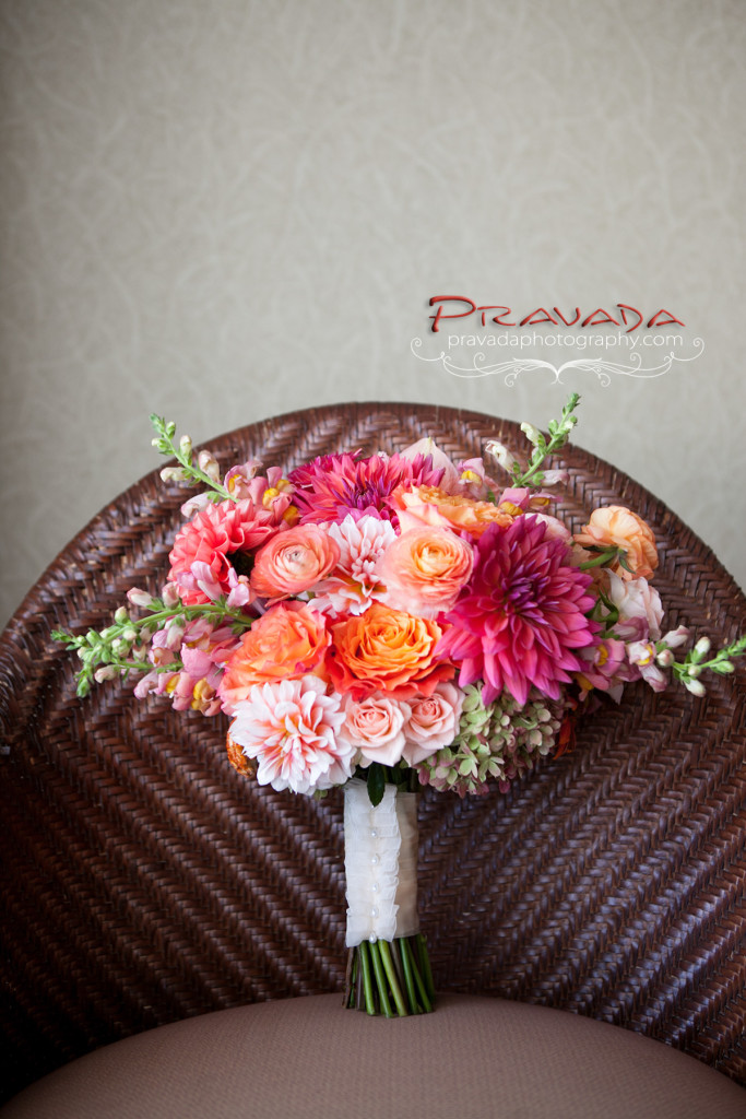 A Garden Party florist - Golden Inn - Pravada Photography - Avalon Wedding Florist- orange wedding flowers - pink wedding flowers - dahlias - beach wedding - canopy