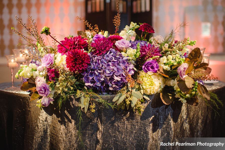 Philadelphia Wedding Florist - A Garden Party florist - Four Seasons Philadelphia - Rachel Pearlman Photography - Abbey Malcolm Press - Bel Memento Weddings - purple wedding flowers