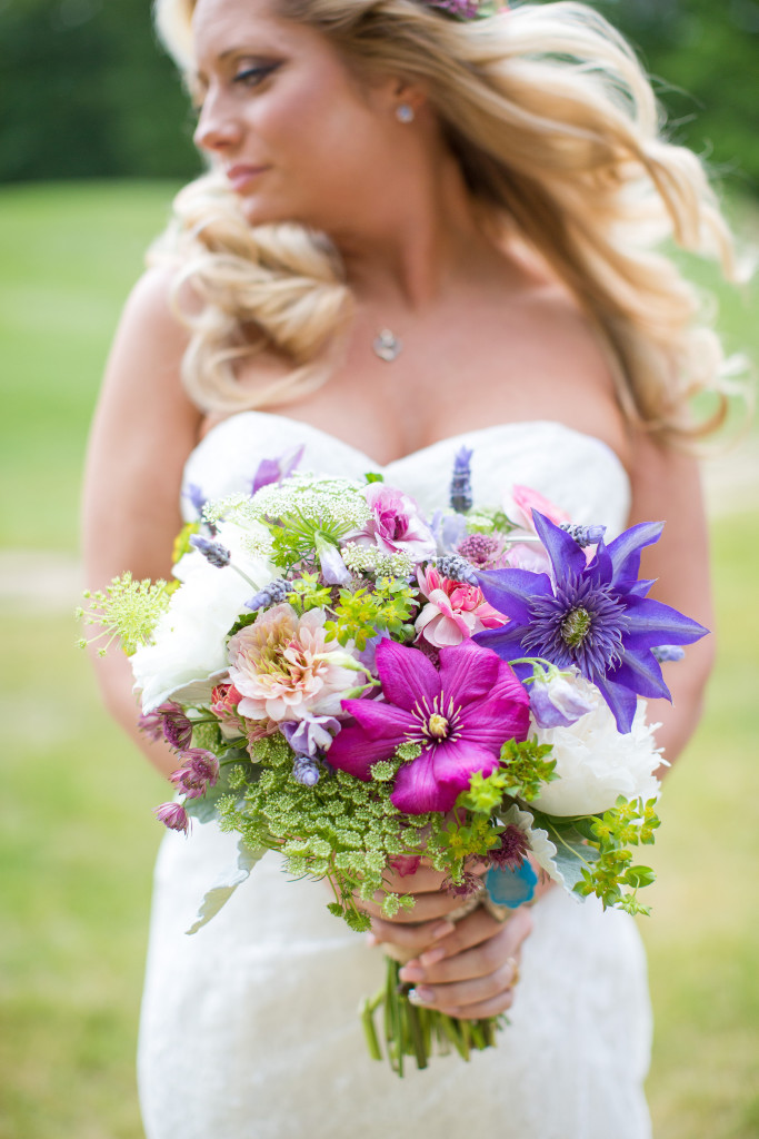 South Jersey Wedding Florist - A Garden Party Florist - Running Deer Golf Club - Tina Elizabeth Photography - floral crown - wildflower wedding - pink and purple wedding - garland - mason jars