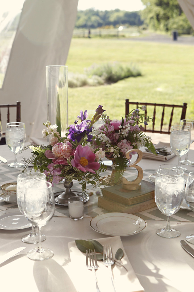 Chesterfield Wedding Florist - A Garden Party Florist - Inn at Fernbrook Farms - Kella Macphee Photography - American grown wedding - wildflowers - vintage - rustic - teacups - taper candles - ribbon garland