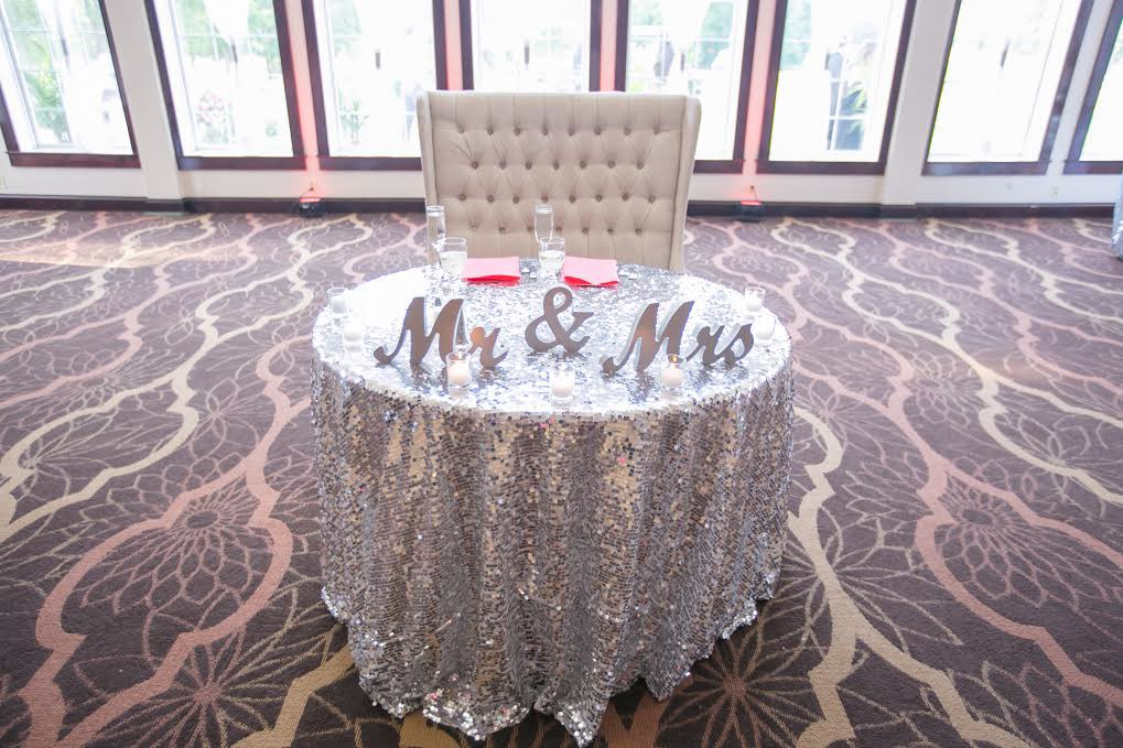 South Jersey Wedding Florist - A Garden Party florist - Running Deer Golf Club - Ashley Elaine Photography - Tropical wedding - coral charm peonies - silver sequin linen - cake flowers - peach juliet roses  - pink wedding flowers