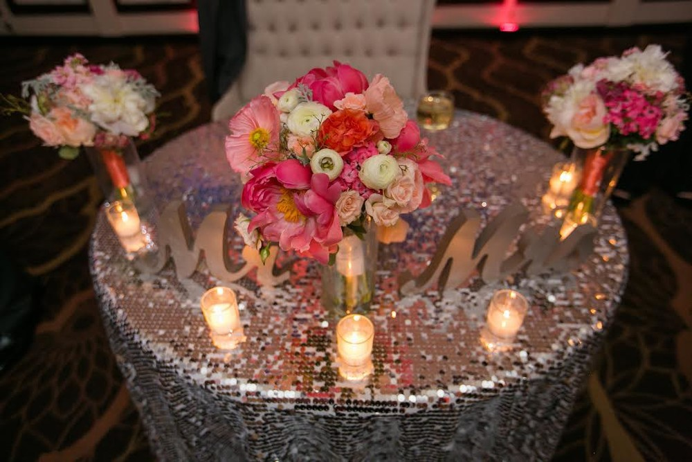 South Jersey Wedding Florist - A Garden Party florist - Running Deer Golf Club - Ashley Elaine Photography - Tropical wedding - coral charm peonies - silver sequin linen - cake flowers - peach juliet roses  - pink wedding flowers