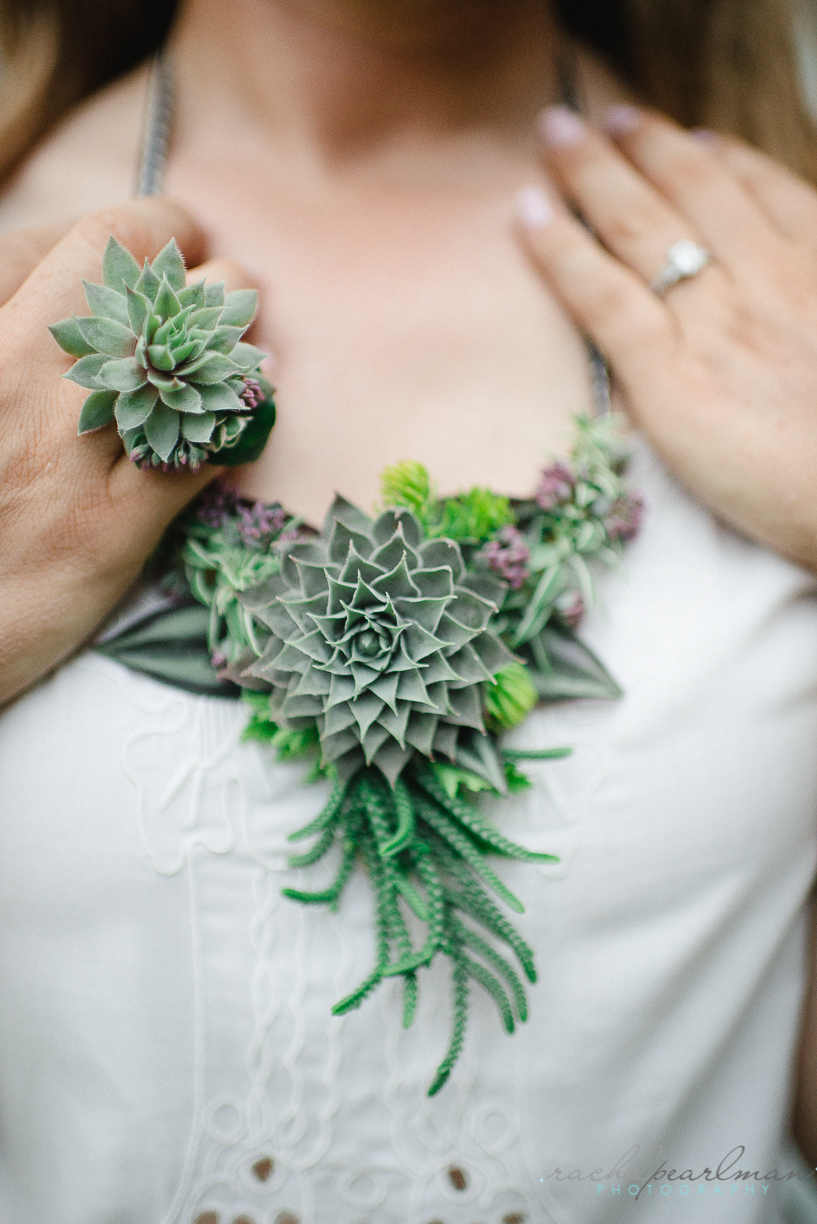 Flower Jewelry, Succulent Necklace, Flower Ring, Rachel Pearlman Photography