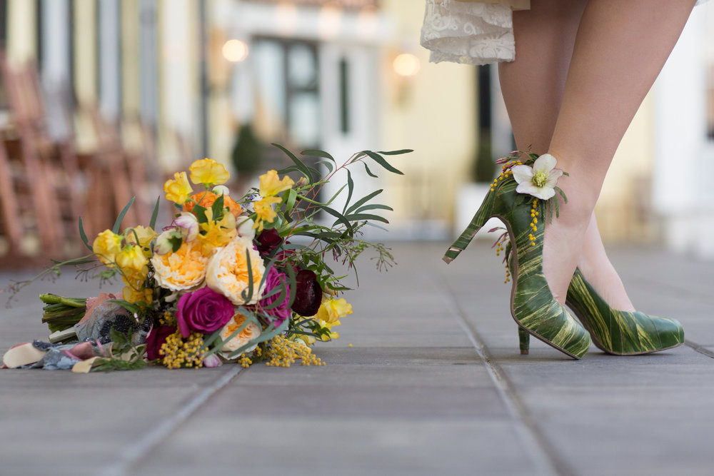 Cape May Congress Hall Wedding, Greenery Shoes, Yellow Bouquet, Florist, Hello Gorgeous Photography