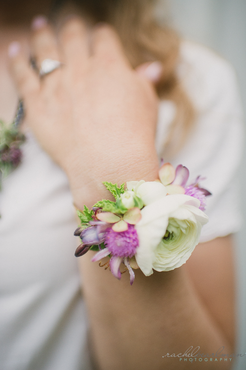 Flower Jewelry, Floral Cuff, White and Pink Wedding, Rachel Pearlman Photography