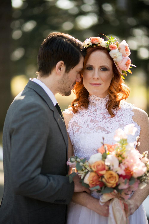 NJ Wedding, Peach Bouquet, Flower Crown, Lurey Photography