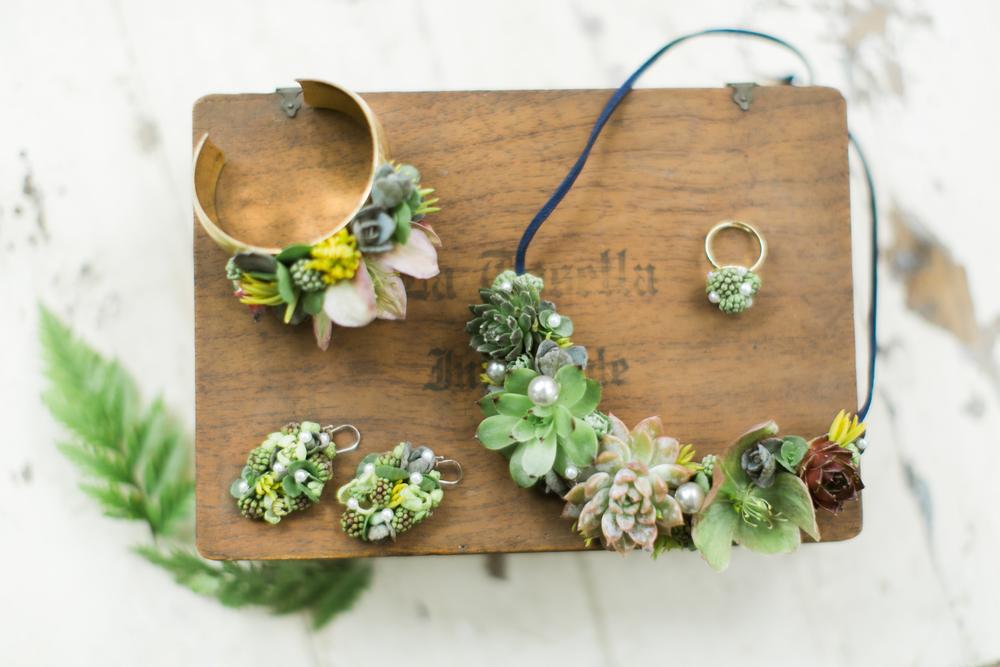 Flower Jewelry, Succulent Necklace, Flower Earrings, Succulent, Flower Cuff, Emily Wren Photography