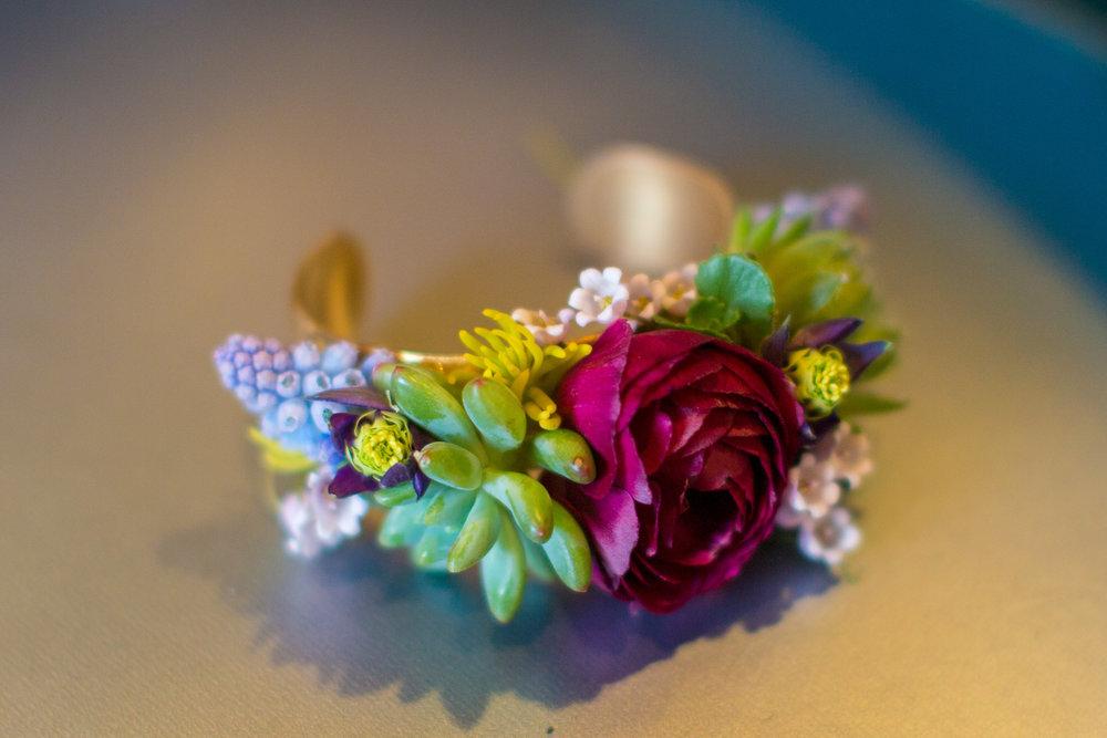 NJ Wedding, Flower Cuff, Succulent, Ranunculus, Muscari, Flower Jewelry, Tami & Ryan Photography