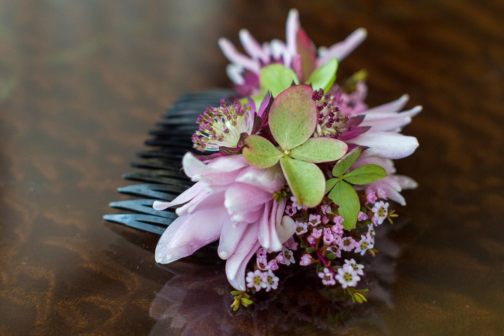 NJ Wedding, Flower Comb, Bridal Hair Piece, Pink and Green Wedding, Tami & Ryan Photography