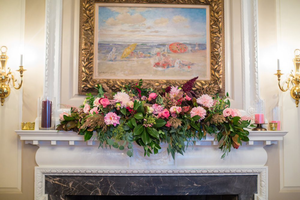 A Garden Party Florist, Tami & Ryan Photography, Brantwyn Estate, Wilmington, Pink, Mantle Decor