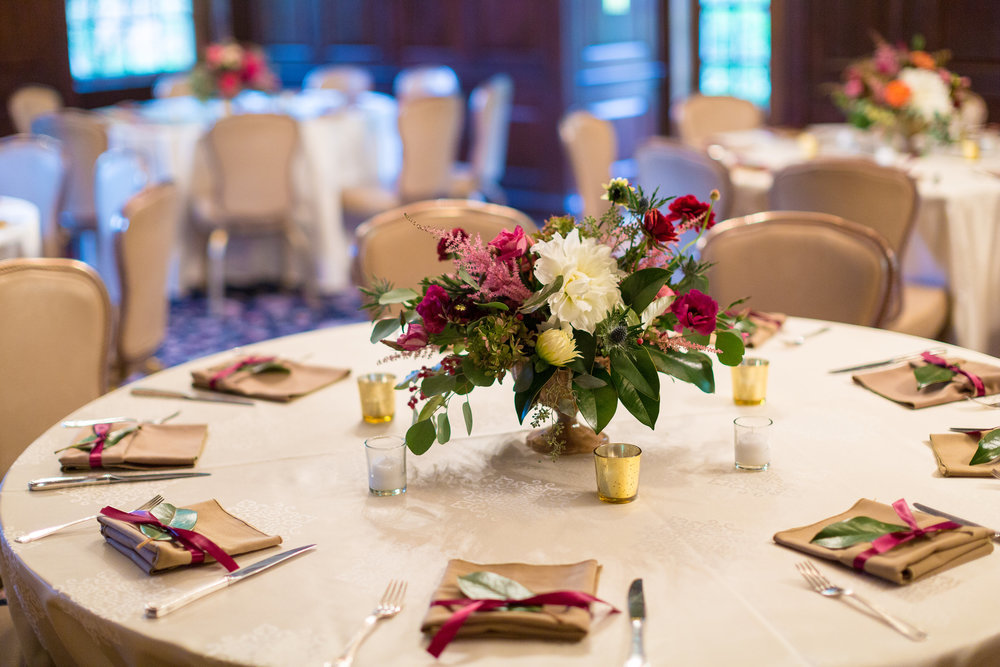 A Garden Party Florist, Tami & Ryan Photography, Brantwyn Estate, Wilmington, Pink, Table Decor, Mercury Glass