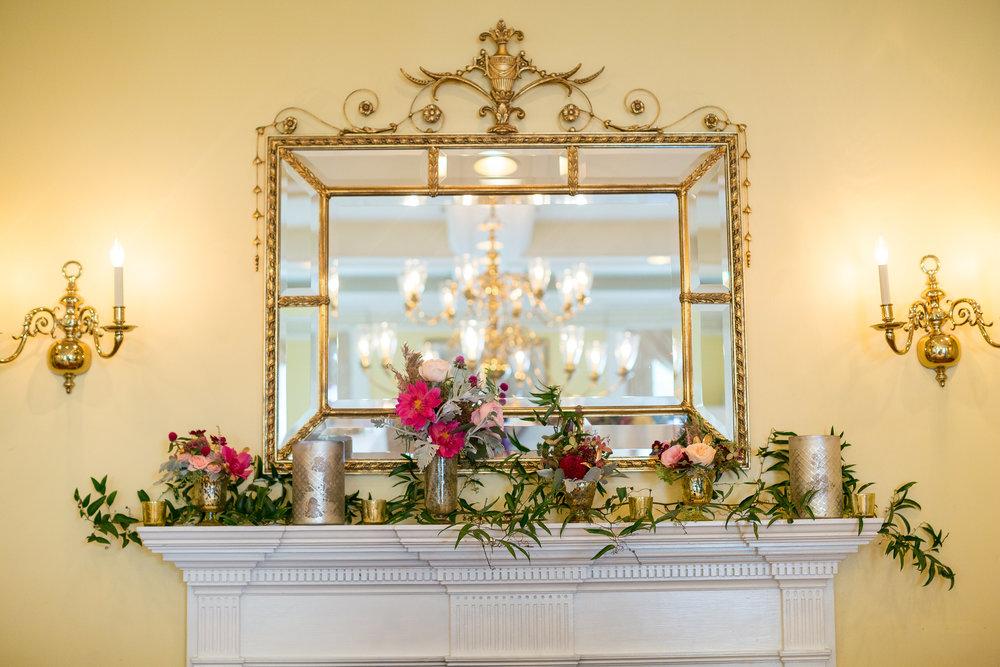 A Garden Party Florist, Tami & Ryan Photography, Brantwyn Estate, Wilmington, Pink, Mantle Decor