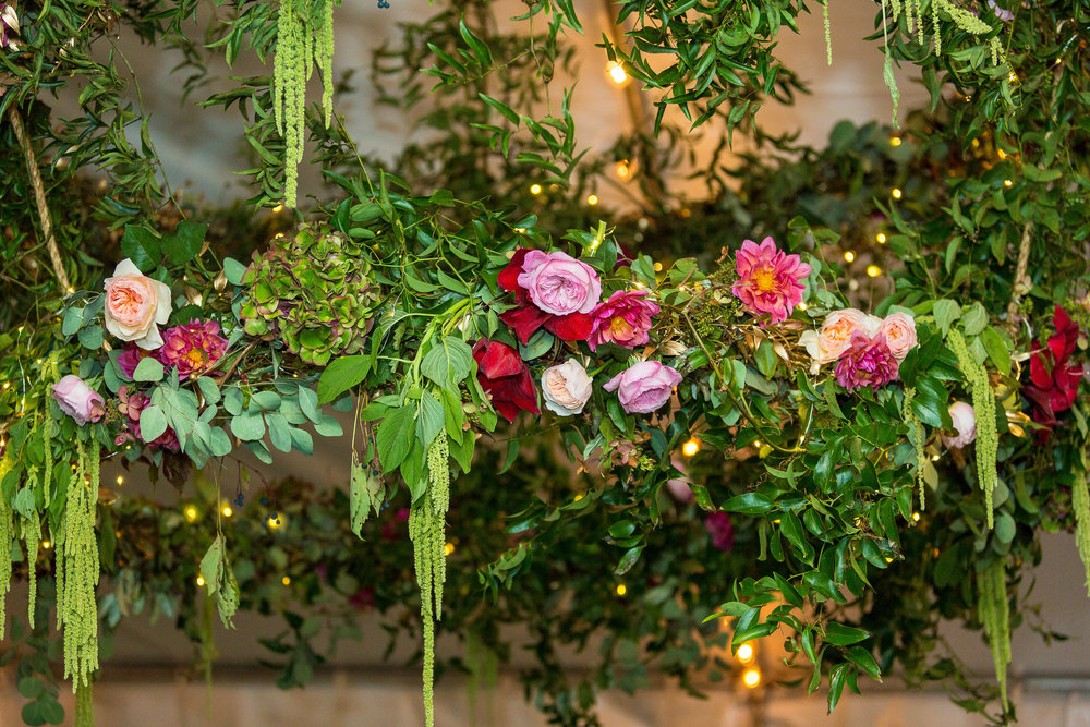A Garden Party Florist, Tami & Ryan Photography, Brantwyn Estate, Wilmington, Pink, Floral Chandelier, Fairy Lights