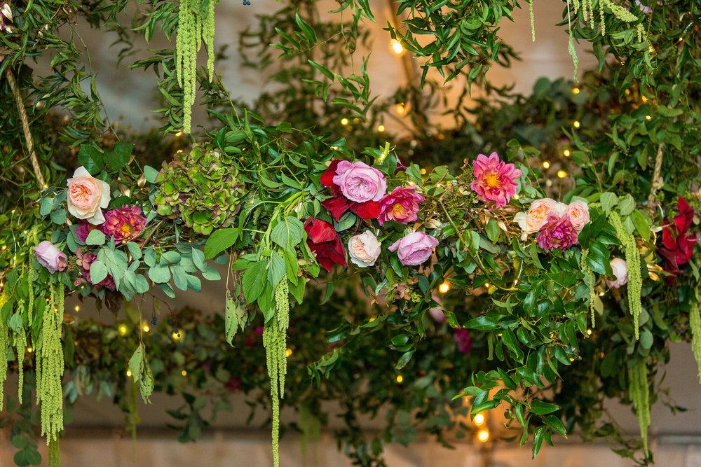A Garden Party Florist, Tami & Ryan Photography, Brantwyn Estate, Wilmington, Pink, Floral Chandelier, Fairy Lights