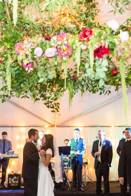 A Garden Party Florist, Tami & Ryan Photography, Brantwyn Estate, Wilmington, Pink, Floral Chandelier