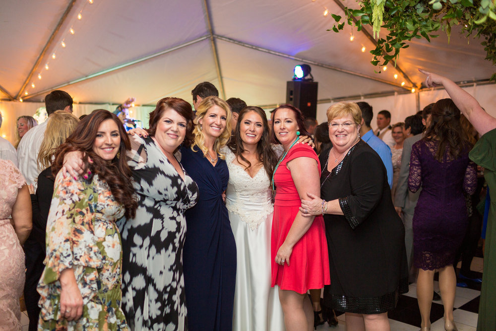 Work hard play hard!  So happy to have this photo of Team A Garden Party - these ladies went beyond their job calling to make my wedding day the stuff of dreams.  I can not thank them enough for all of the hard work, the hustle, and the creativity that went into decorating this venue - and I'm so happy we all got to get dressed up together and dance the night away!