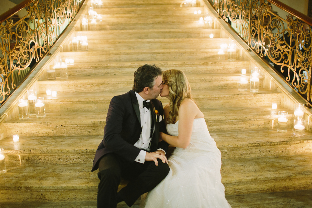 Jasna Polana has an interior just as stunning as its exterior. This grand marble staircase is set up for grand entrances, and we made sure to take advantage with dozens and dozens of floating candles.
