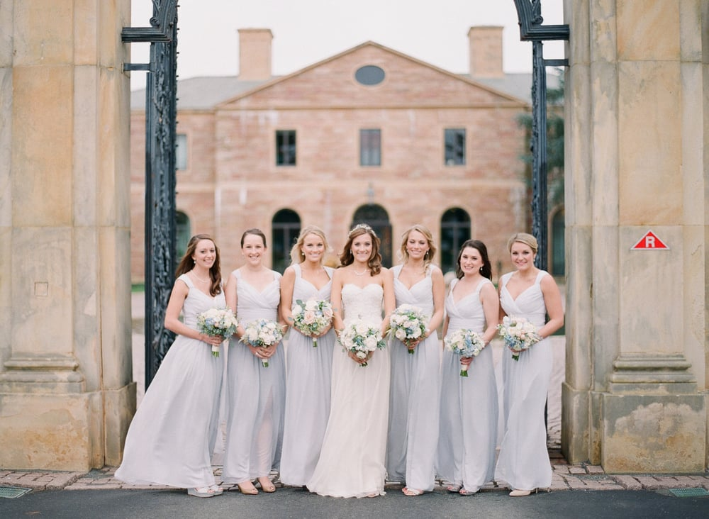 Sarah's bridesmaids wore the palest shade of lavender to go with the cooler color scheme.  Their bouquets had blue hydrangea, sweet pea, lisianthus and dusty miller to bring out the tones of their gowns.