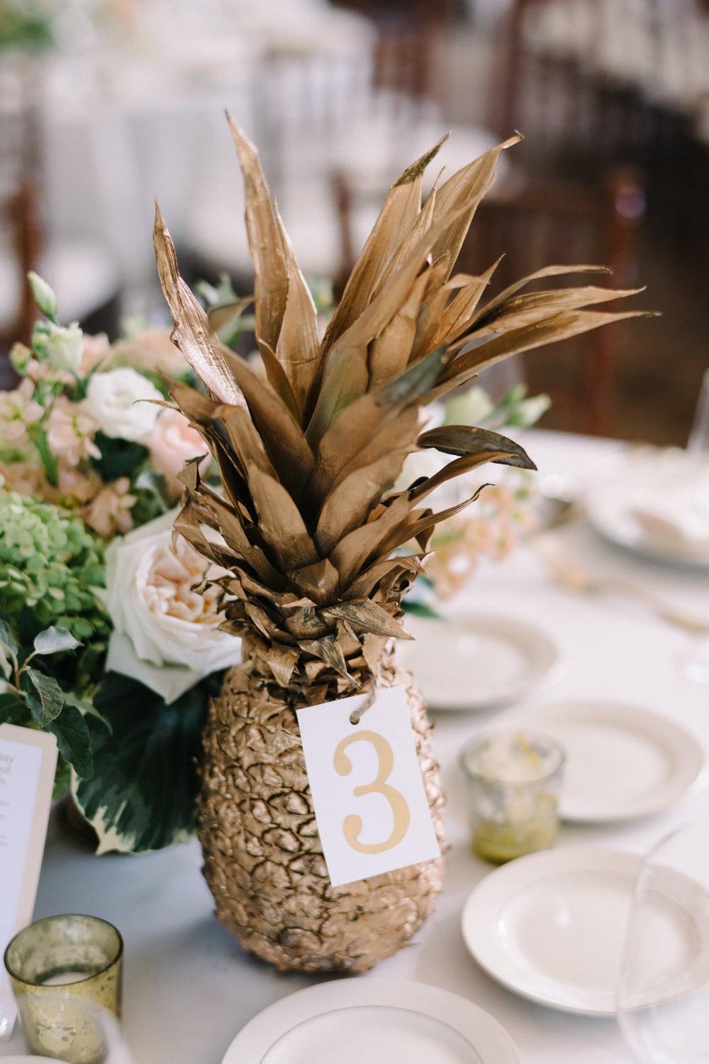 A Garden Party Florist, Inn at Fernbrook Farms, Michelle Lange Photography, Blush, Table Decor, Pineapple