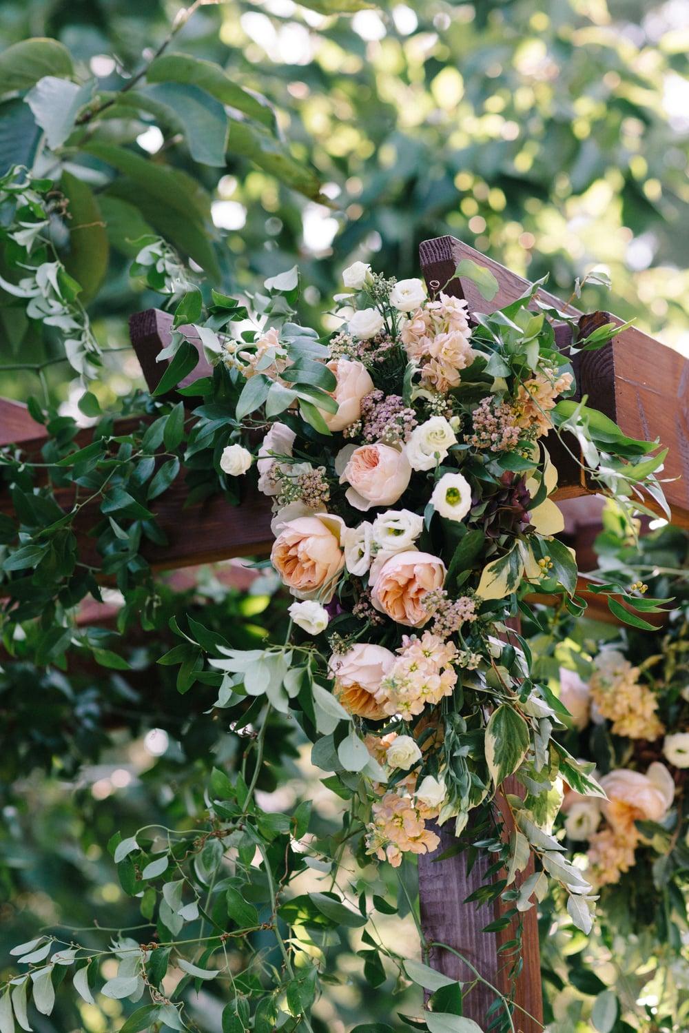 A Garden Party Florist, Inn at Fernbrook Farms, Michelle Lange Photography, Blush, Ceremony Flowers, Arbor