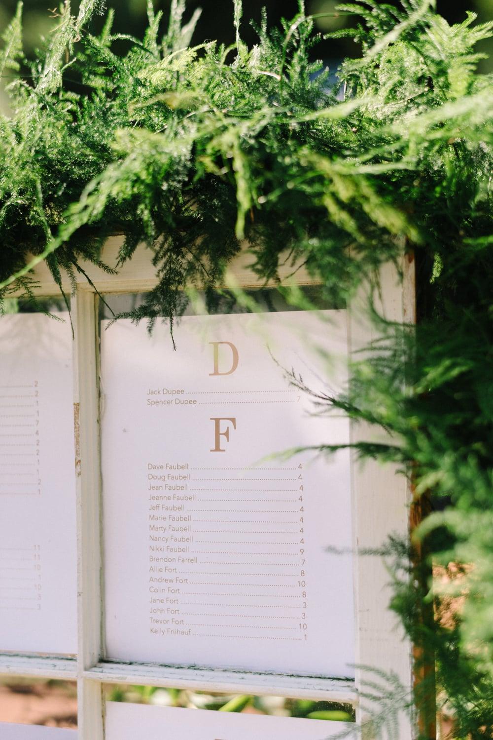 A Garden Party Florist, Inn at Fernbrook Farms, Michelle Lange Photography, Blush, Seating Chart, Window Pane