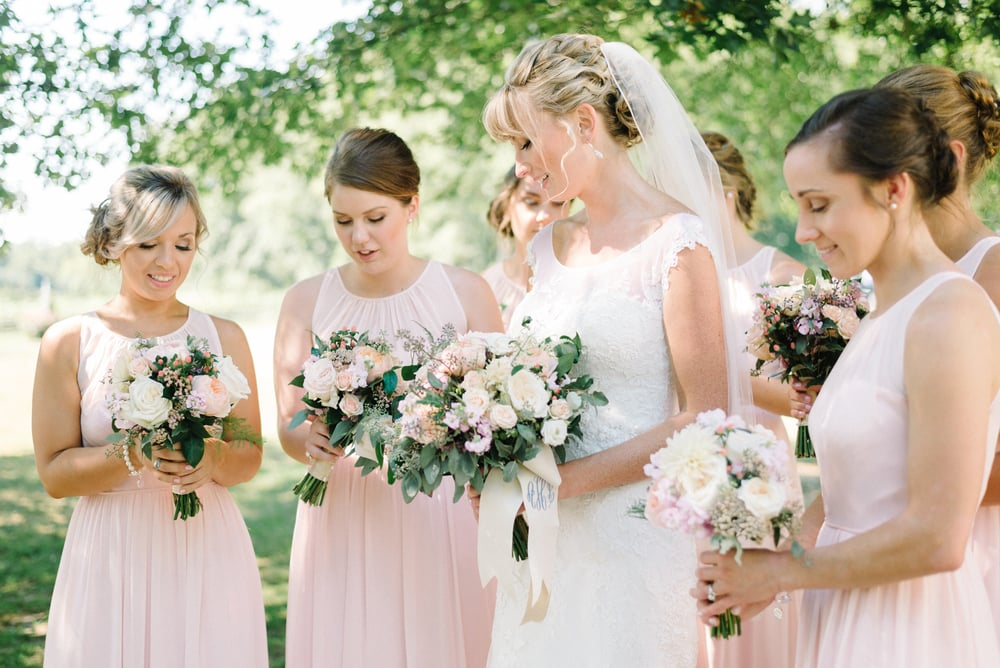 A Garden Party Florist, Inn at Fernbrook Farms, Michelle Lange Photography, Blush, Monogram, Bouquet Wrap