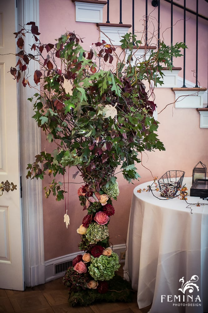 A Garden Party Florist, Brantwyn Estate, Wilmington, Fall Wedding, Femina Photo & Design, Purple, Peach, Wishing Tree, Floral Tree