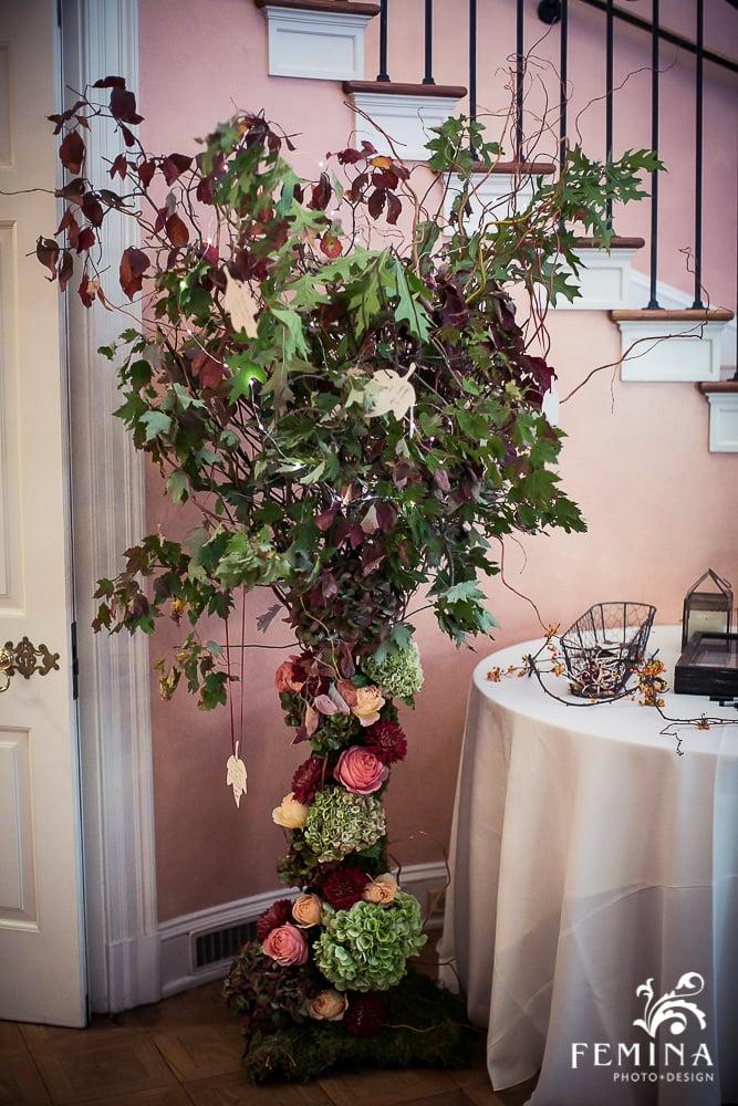 A Garden Party Florist, Brantwyn Estate, Wilmington, Fall Wedding, Femina Photo & Design, Purple, Peach, Wishing Tree, Floral Tree