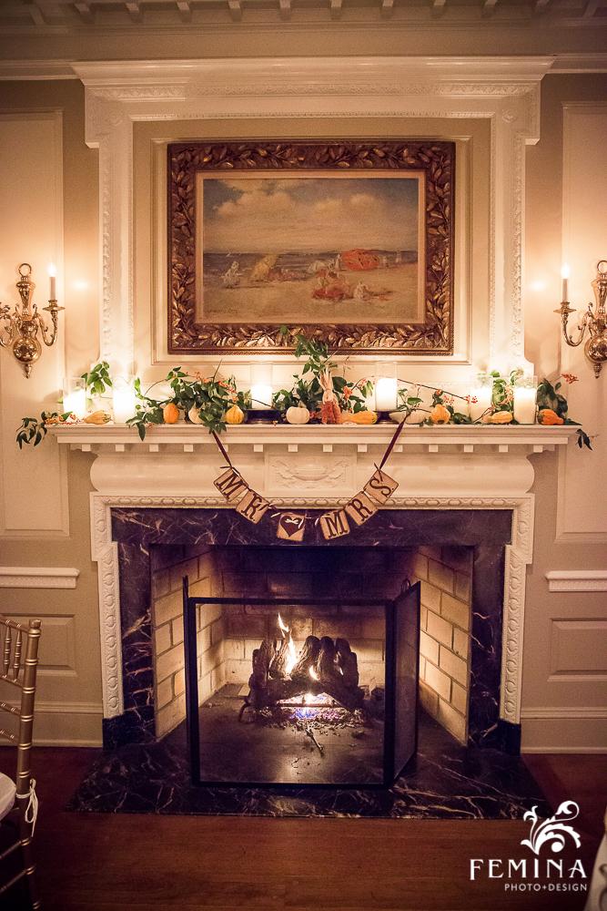 A Garden Party Florist, Brantwyn Estate, Wilmington, Fall Wedding, Femina Photo & Design, Mantle Decor, Gourds
