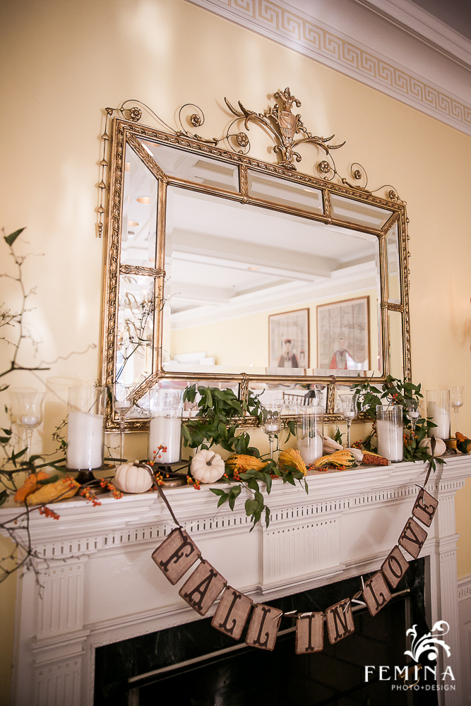 The fireplaces in Brantwyn are too great a focal point to just leave alone! We added mantle decor by mixing pillar candles, pumpkins, gourds, leaves and Amanda's different banners.
