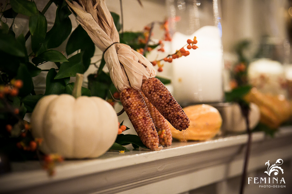 A Garden Party Florist, Brantwyn Estate, Wilmington, Fall Wedding, Femina Photo & Design, Mantle Decor, Indian Corn, Gourds