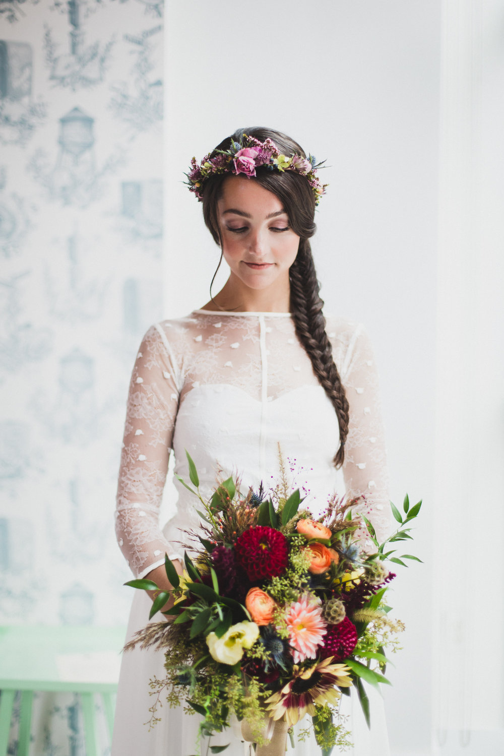 NJ Wedding, Fall Bridal Bouquet, Hair Flowers, Elvira Kaviste Photography