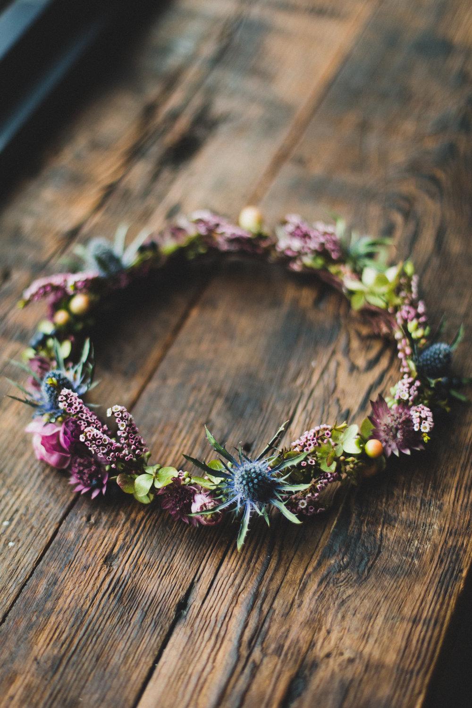 NJ Wedding, Bridal Flowers, Flower Crown, Hair Piece, Jewel Tone Wedding, Elvie Kaviste Photography