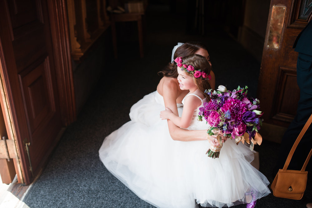 Philadelphia Wedding, Power Plant Productions, Purple Bouquet, Flower Crown, Flower Girl, Pink Flowers, Allison Dunn Photography