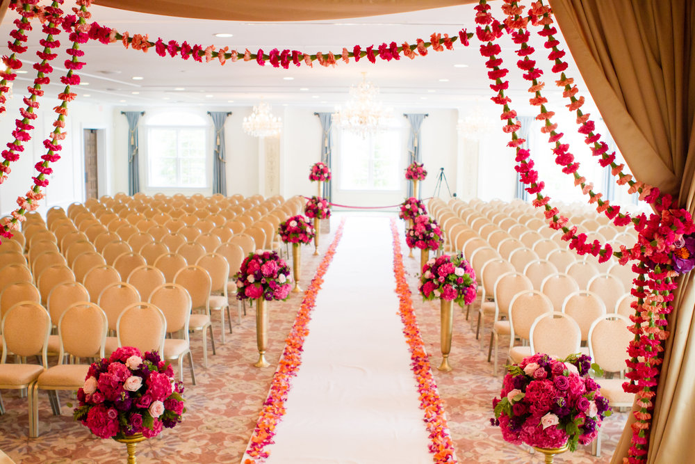 Carriage House Wedding, Indian Wedding, Indian  Ceremony, Pink Wedding Flowers, Aisle Runner, Aisle Petals, Ceremony Decor, Carnations