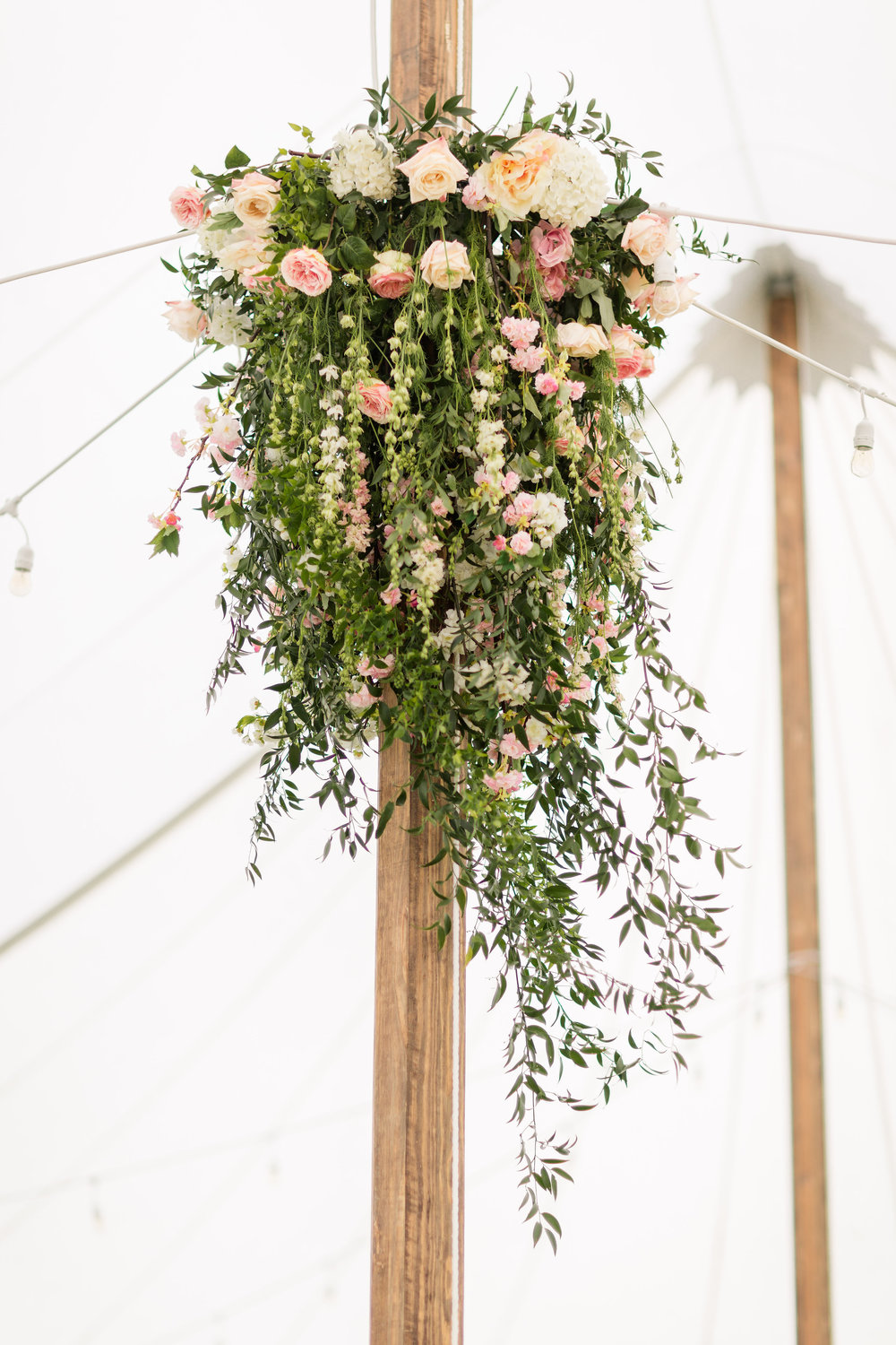 NJ Wedding, Tent Wedding, Hanging Chandelier, Hanging Decor, Greenery Wedding, Blush Wedding, A Garden Party