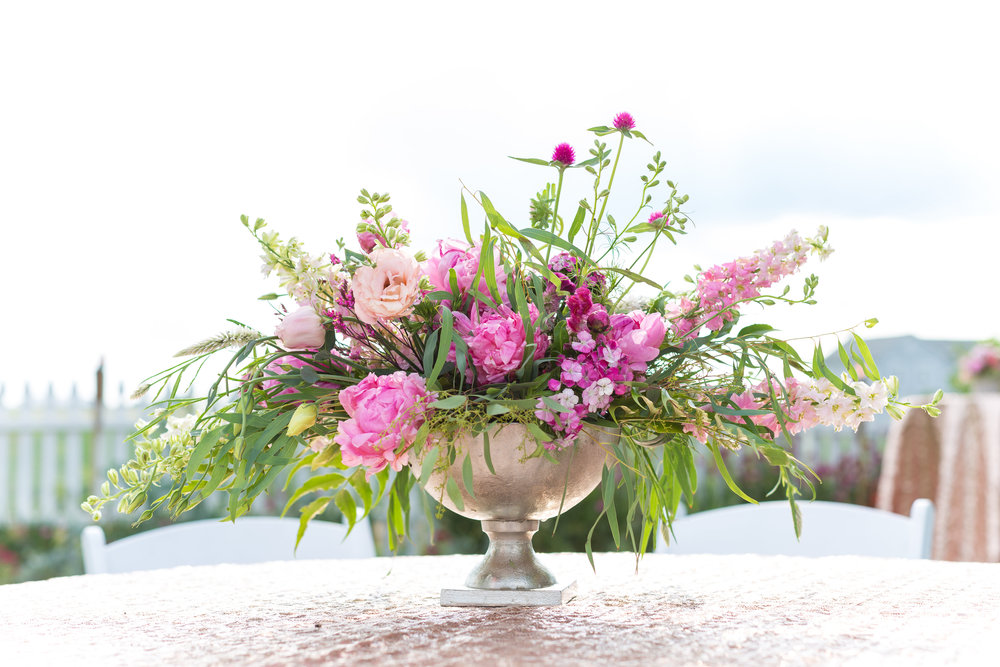 NJ Wedding, Backyard Wedding, Pink Centerpiece, Greenery, Flowers, Florist, A Garden Party, Tami & Ryan Photography
