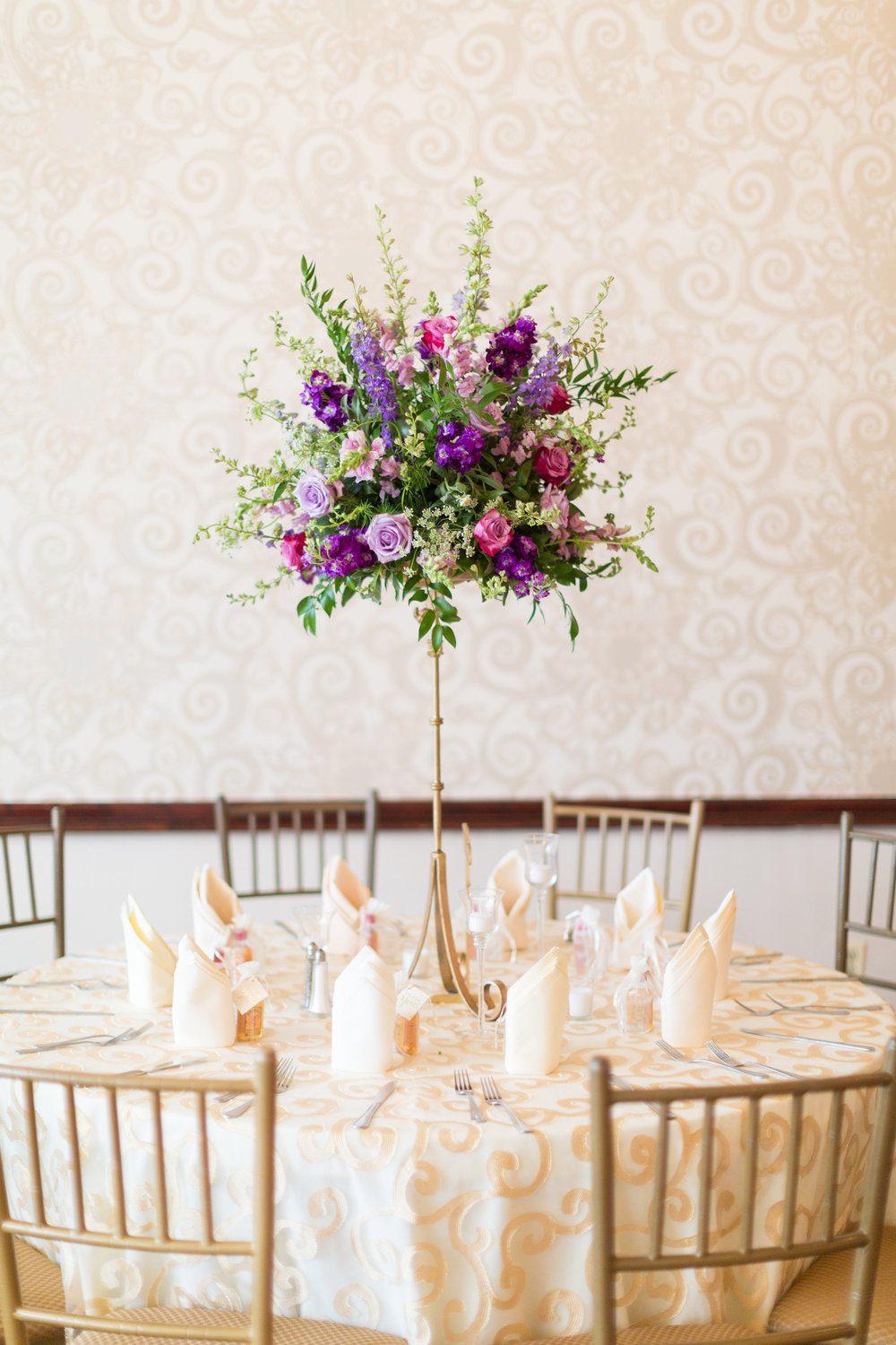 NJ Wedding, Running Deer Golf Club, Purple Flowers, Lavender Wedding, Florist, A Garden Party, Compote, Centerpiece, Tami & Ryan Photography
