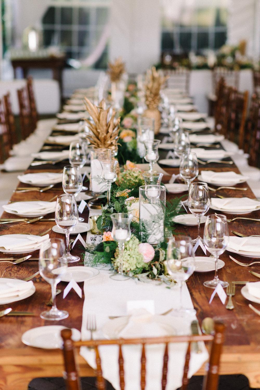 NJ Wedding, Inn at Fernbrook, Garland, Centerpiece, Summer Wedding, Summer Flowers, Peony, Candles, Michelle Lange Photography