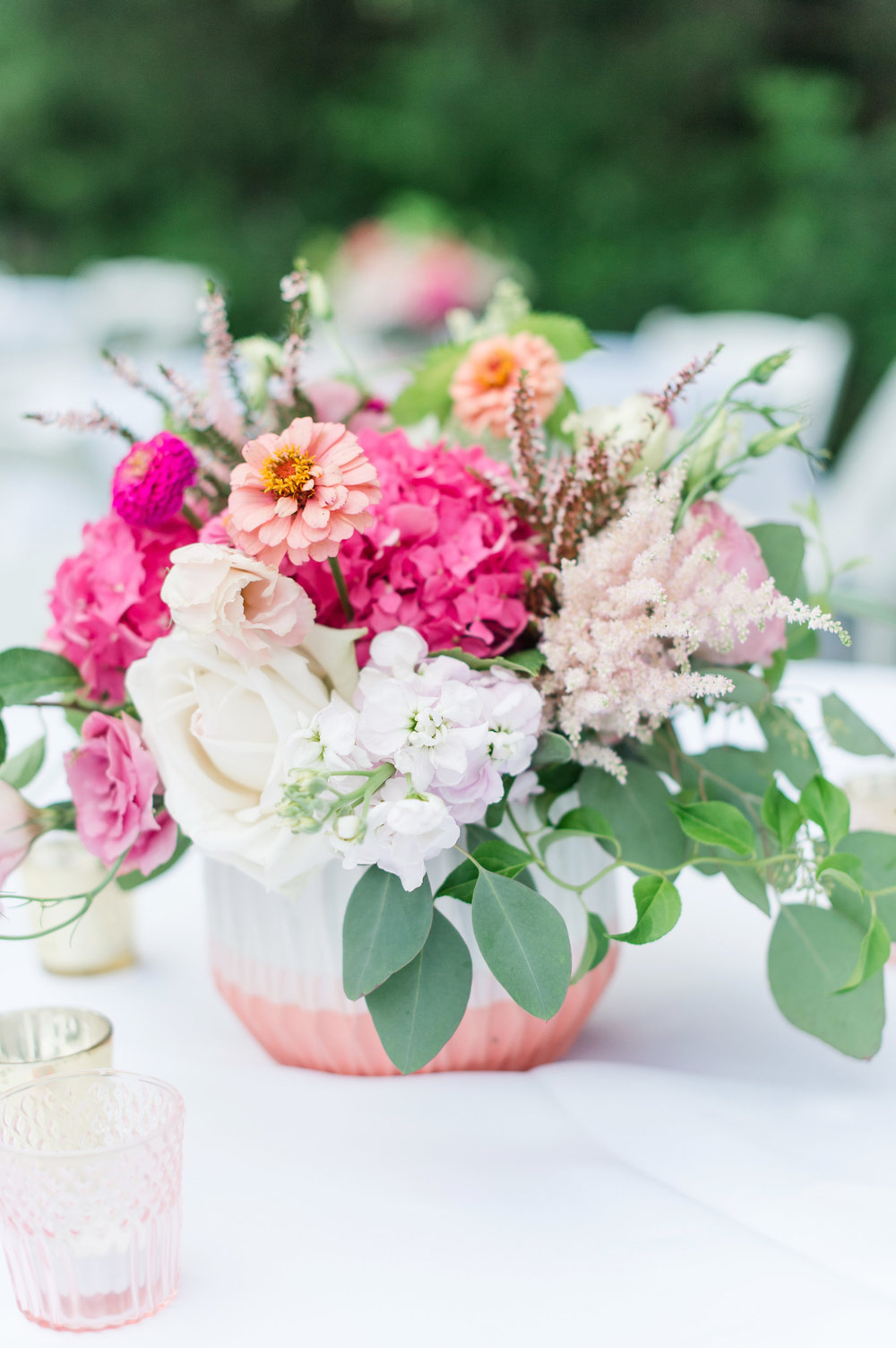 close up of pink summer centerpieces