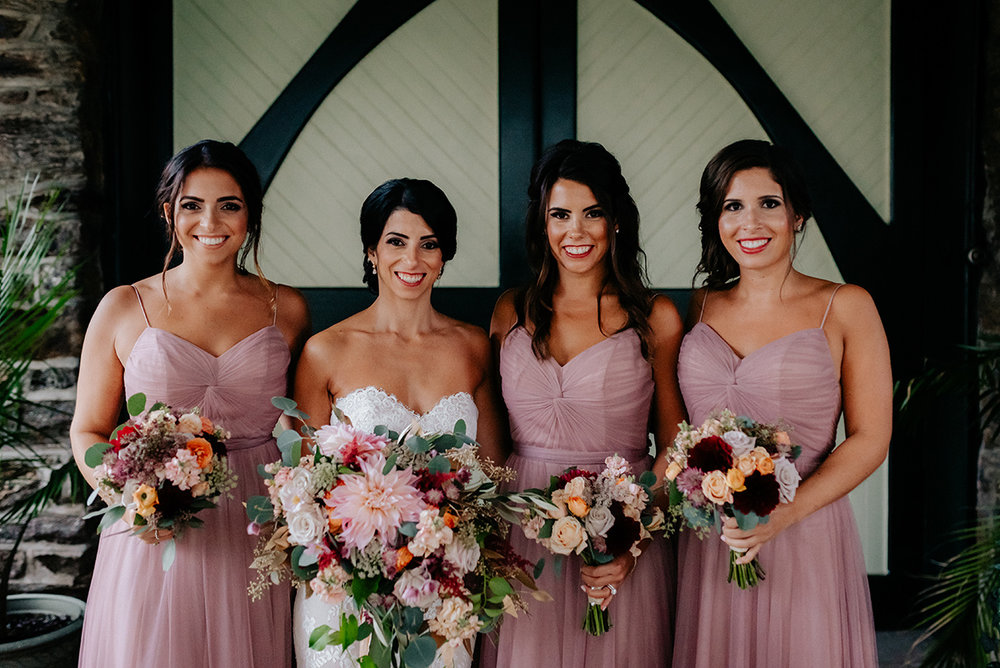 fall wedding bridesmaids knowlton mansion