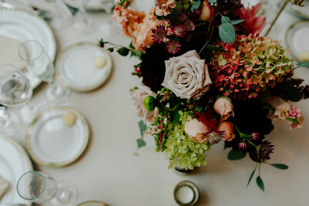 fall wedding centerpiece knowlton mansion