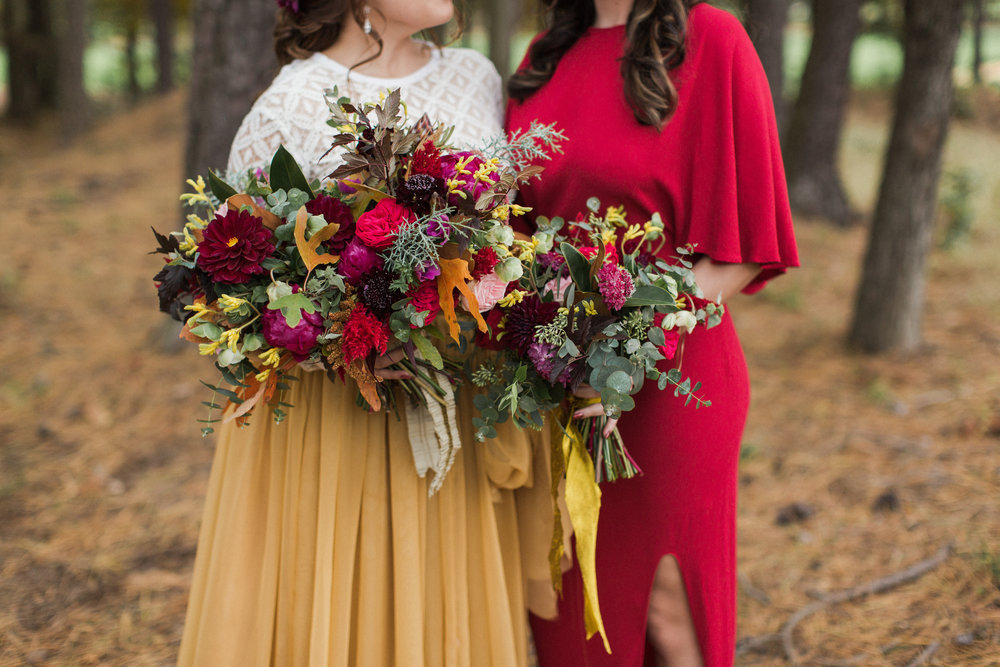 Fall outdoor wedding Running Deer bridesmaid red dress