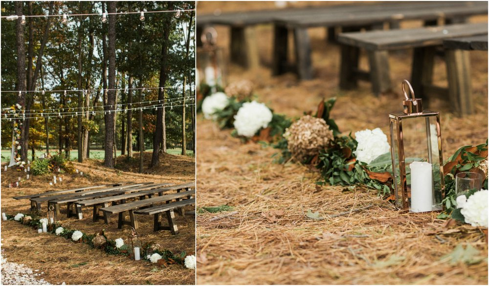 Running Deer fall ceremony aisle arrangements