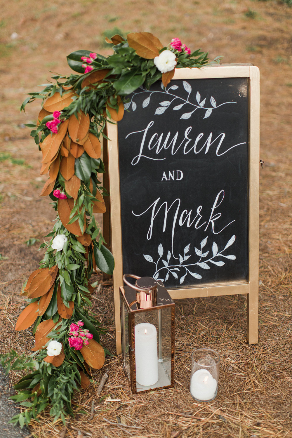 Running Deer outdoor ceremony welcome sign