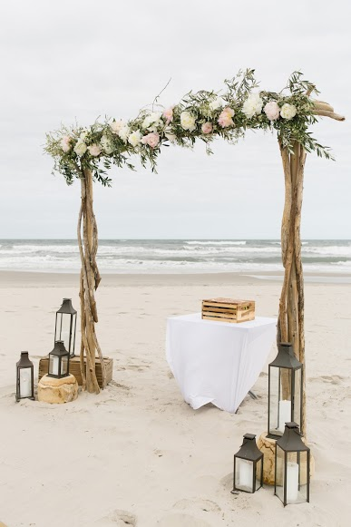 Avalon Wedding, Beach Ceremony, A Garden Party, Flowers, Ceremony Arch, Rustic Drift Rentals, Becka Pillmore Photography